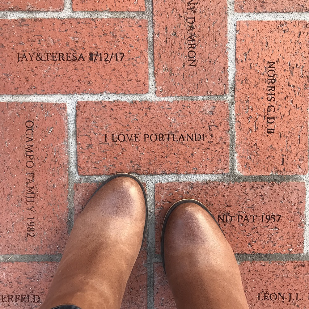 Explore the bricks at Pioneer Courthouse Square