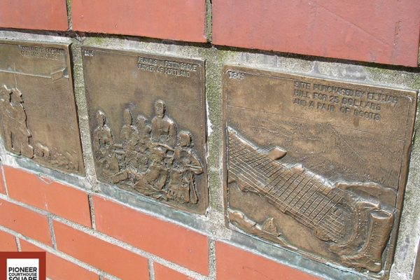 Historic Tiles - Also located in the Small Amphitheater are bronze tiles, handmade by Gail Martin, depicting scenes from Portland's Past.
