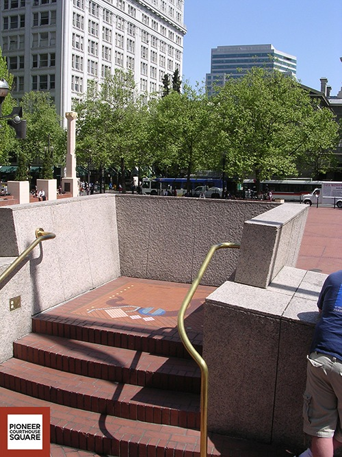 """Keystone Lectern - Located at the top of the """"Waterfall Fountain"""" this lectern was designed to be used as a focal speaking platform for the Square. The lectern is a great vantage point from which to view the Square"""