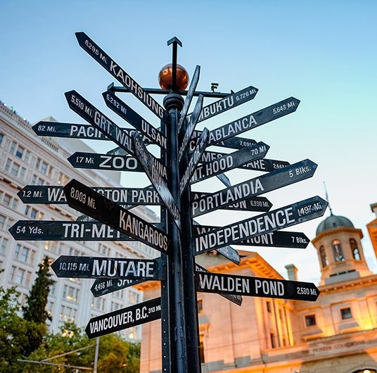 Pioneer Courthouse Square - Milepost Sign